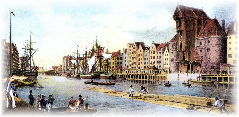 Gdanský Velký jeřáb kolem roku 1850
